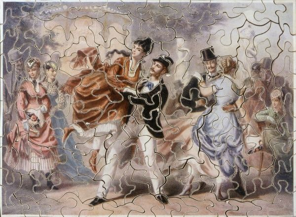 Victorian puzzle showing dancers in a Parisian dance hall Date: circa 1870