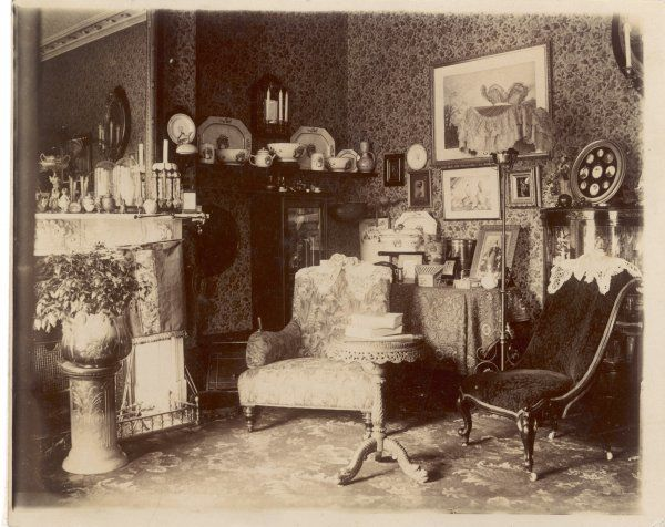 A rather cluttered Victorian sitting room