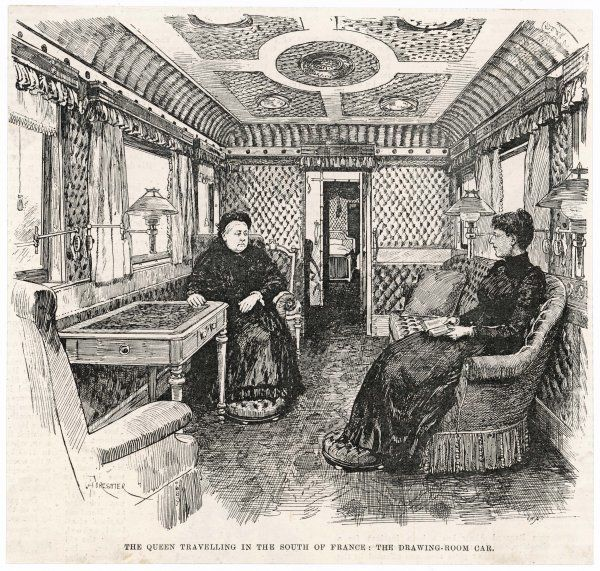 Queen Victoria travelling in the south of France: the drawing room car of her railway carriage