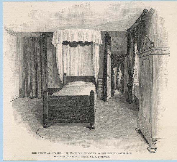 Queen Victoria's bedroom at the Hotel Costebelle during her stay in Hyeres, France