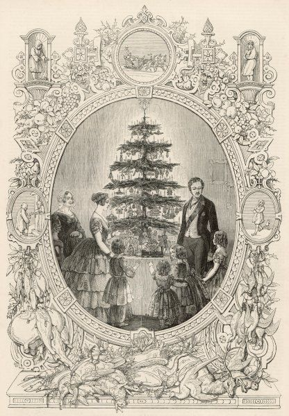 Queen Victoria, Prince Albert and the Royal children gather round the Christmas tree at Windsor Castle
