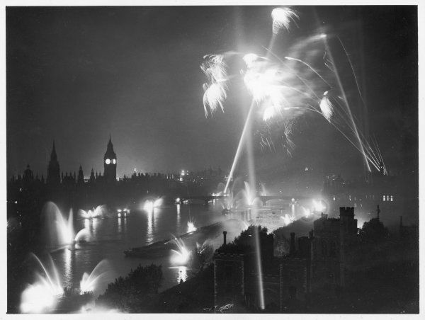Scene on the Thames (Westminster) during the flood-lighting and firework display on Victory Night