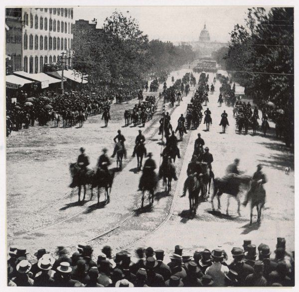 A victory parade takes place in Washington