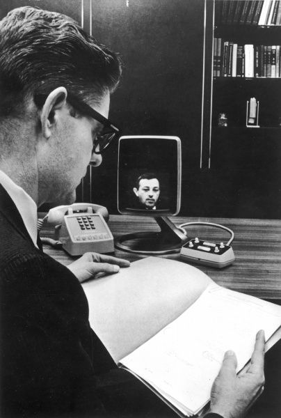A videophone was used by the Bell Telephone System in a trial between Pittsburgh and New York offices of Westinghouse Electric Corporation