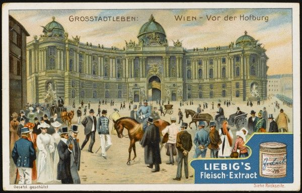 Carriages and pedestrians in the platz before the Hofburg