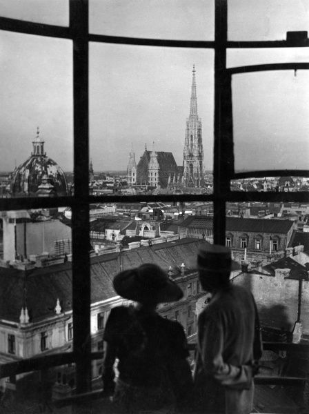 A delightful overview of the beautiful city of Vienna, Austria, with St. Stephen's Cathedral (Stephansdom) in the distance. Date: 1930s
