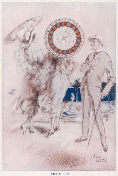 A gentleman walking along a promenade. He is distracted by a ladies parasol which is mesmerisingly transformed into a roulette wheel