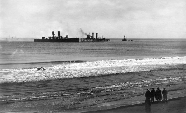 View of British ships and boats out at sea, seen from the port of Ostend, Belgium, during the First World War