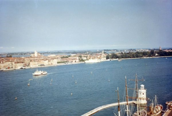 General view from the top of the campanile in Venice, Italy. Date: 1968