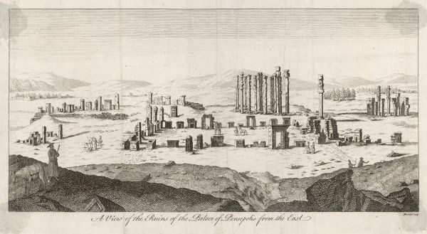 View of the Citadel of Persepolis, Iran. By the 18th century quite accurate descriptions of the visible ruins were being published, this engraving by Hullett being a very good example