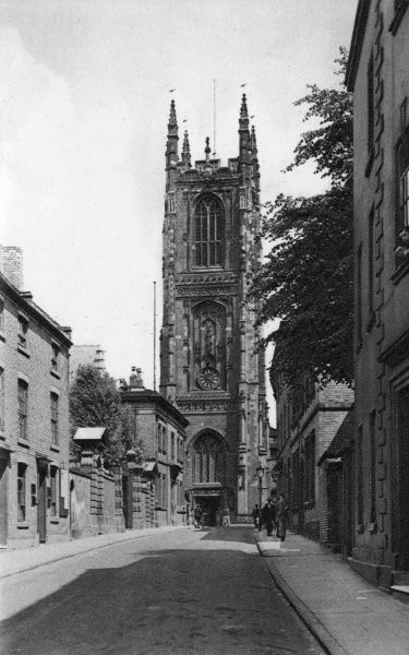 View of Derby Cathedral (All Saints) from St Mary's Gate, looking towards the west front. Date: circa 1910