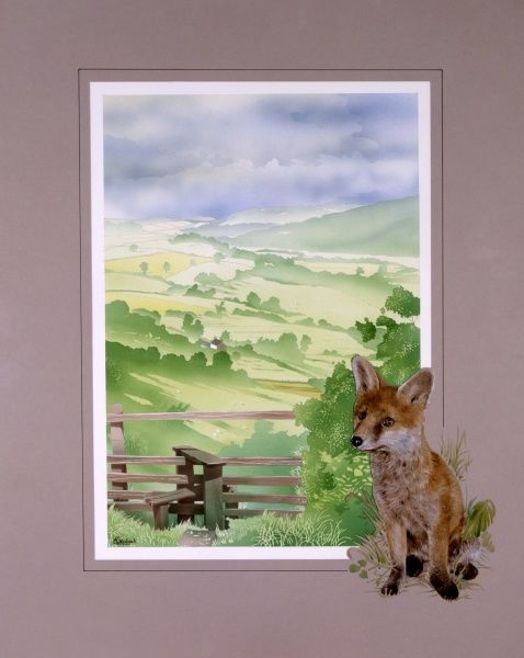 A view looking down a lush verdant green English valley, past a small wooden stile. A young fox has been added to the border framing the scene. Painting by Malcolm Greensmith