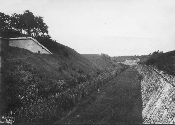 View of a fort in Belgium during the First World War. Date: circa 1914