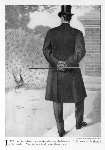An American gentleman with top hat, silver topped cane & leather gloves models the back view of frock coat which shows the vents