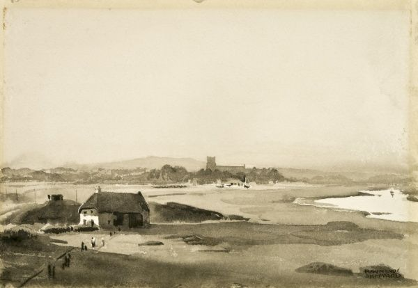 View of Hengisbury Head. Watercolour sketch by Raymond Sheppard
