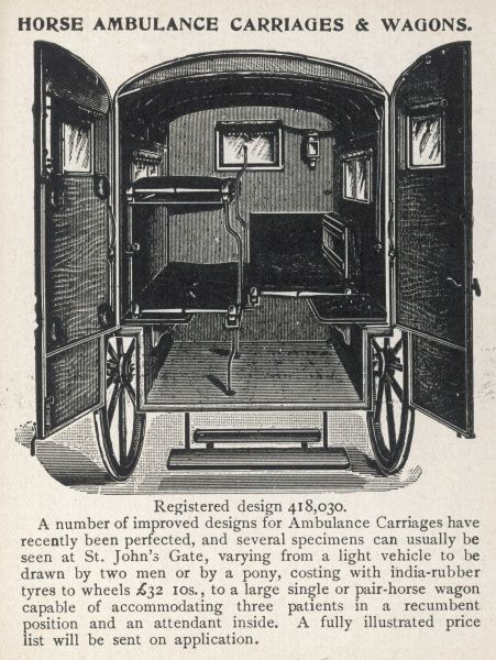 A back view of a horse-drawn ambulance, with the doors open to reveal the benches inside, providing accommodation for up to three patients