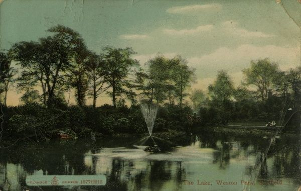 View of the lake at Weston Park, a public park in Sheffield, South Yorkshire, UK. Date: early 20th century