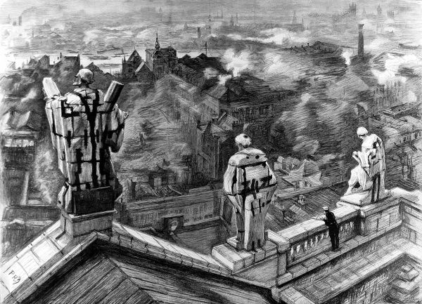 Illustration showing the view of London, looking South, from the dome of St. Paul's Cathedral, 1895. Three large statues of Apostles are shown in the foreground, on the edge of the pediment