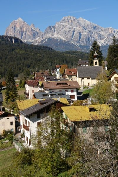 View near San Vito di Cadore, in the Province of Trento (Trentino), in northern Italy, with the Cristallo mountains in the background
