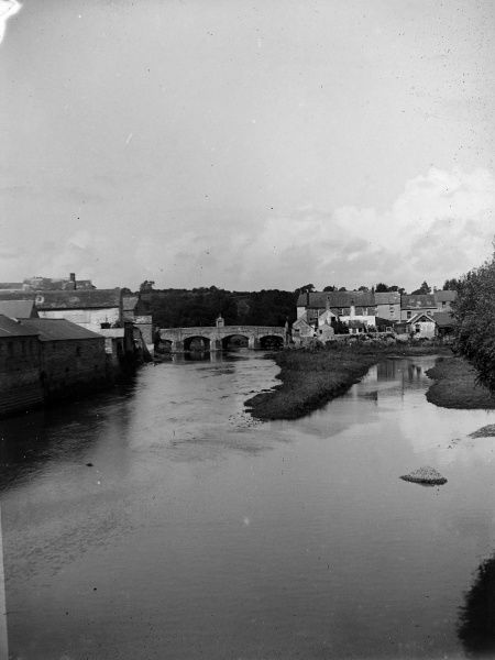 Distant view of the Old Bridge (known as St Martin's Bridge) from the New Bridge (built in 1835) at Haverfordwest, Pembrokeshire, Dyfed, South Wales, crossing the River Cleddau