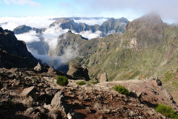 View from the top of the Pico do Arieiro (Arieiro Mountain), the third highest peak on the island of Madeira