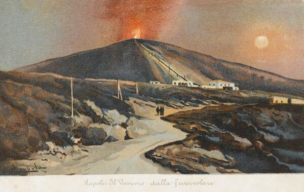 A view of the Volcano of Mount Vesuvius, east of Naples, Italy, showing a plume of flame touching the evening sky and the Funicular Railway, winding bravely up the volcano's slopes toward the summit