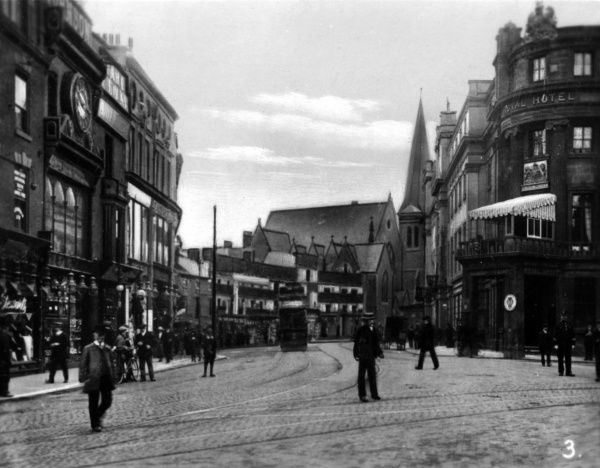View of Victoria Street, Derby, with a tram and pedestrians Date: circa 1910