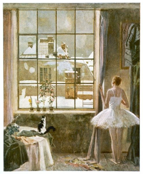 View from the Artist's Window Romantic depiction of a young blonde ballerina looking at the snowy scene ouside