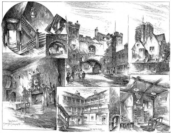 Engraving showing a number of views of 'old' Islington and Clerkenwell, 1884
