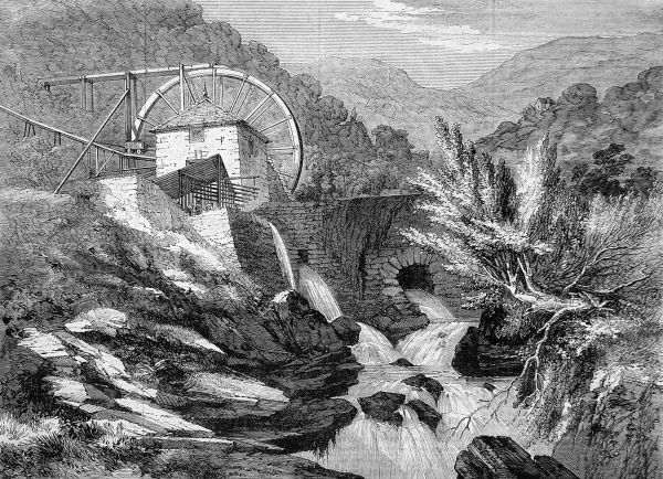 Engraving showing the crushing mill of Vigra gold mine, beside the Hirgwm river in North Wales, 1862. The waterwheel shown was about 60ft in diameter and worked a Cornish crushing machine which crushed 40 tons of ore per day
