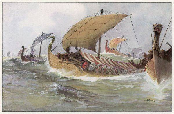 A Viking raiding fleet racing across the North Sea