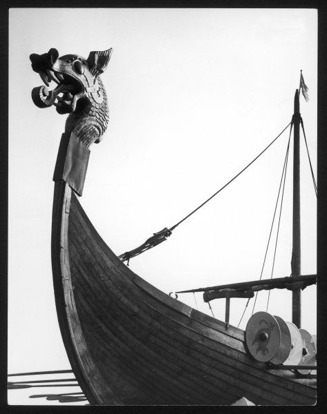 The figurehead of the Viking longship 'Hugin' at Pegwell Bay, Kent, England. It is a replica of a vessel by the Danes to invade Britain