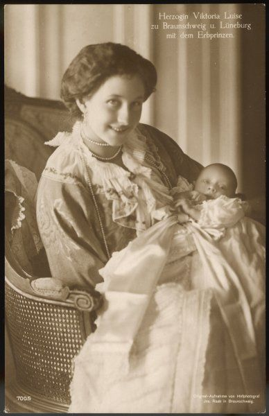 VIKTORIA LUISE of BRUNSWICK and LUNEBERG Daughter of Wilhelm II, wife of Ernst August, Duke of Brunswick and Luneburg, seen here with her baby son