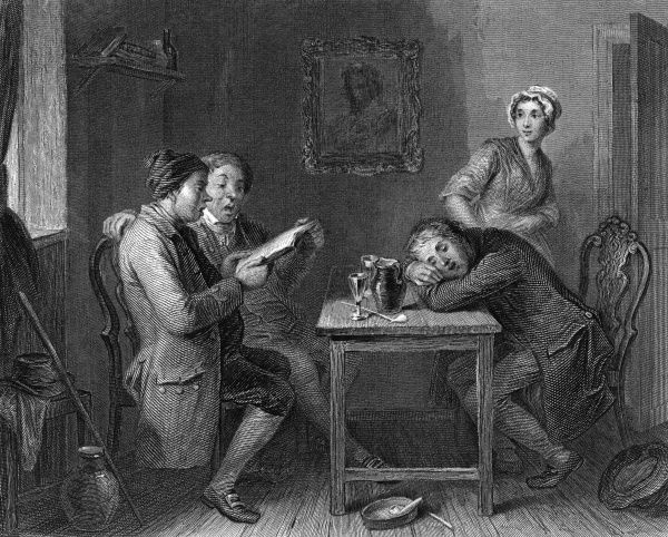 The village glee singers. Two men enjoy a good sing, whilst a third has a nap at the table. Date: 18th century