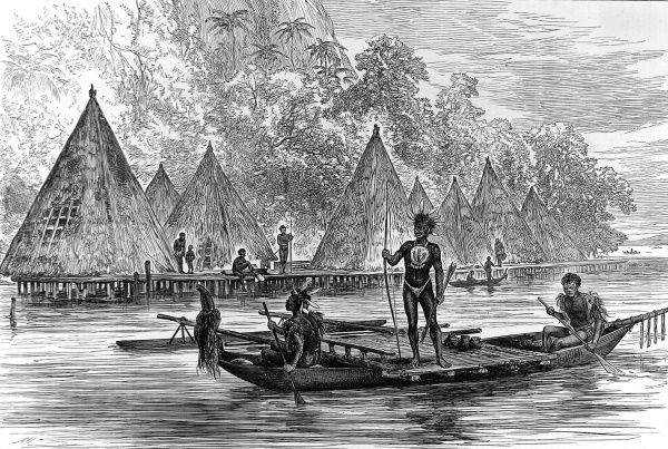 Engraving of a village in Humboldt Bay, New Guinea, as encountered by the crew of HMS Challenger, 1875. A native canoe, with outrigger float, can be seen in front of the village, which was clearly supported on wooden piles