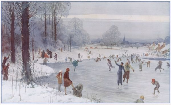 A winter scene by Alfred Bestall of people partaking in ice skating on the local pond