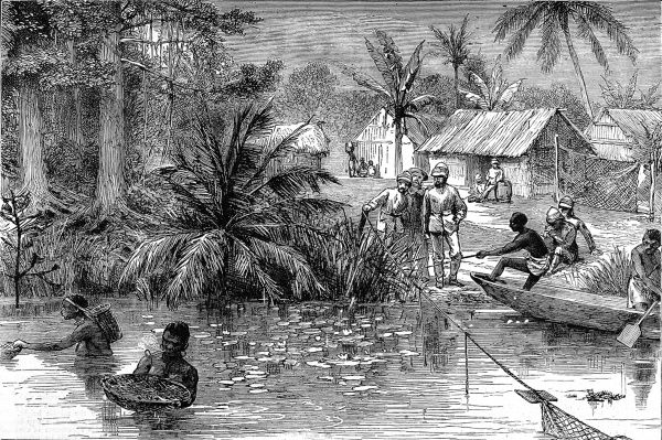 On their march towards the Ashanti capital of Kumasi, British soldiers watch the peaceful scene of women catching fish and tritons in the river Prah