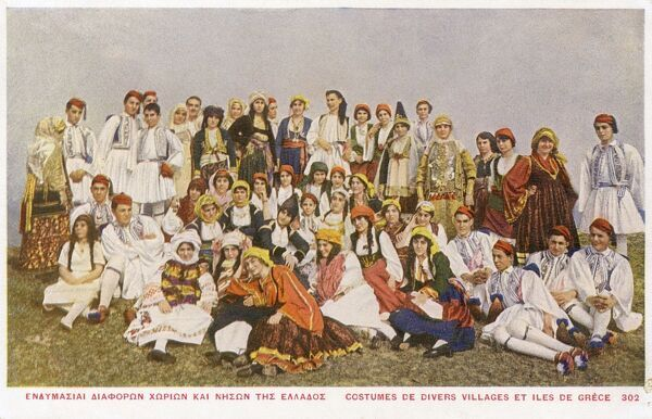 Villagers of Greek Islands in various traditional costumes. Date: 1916