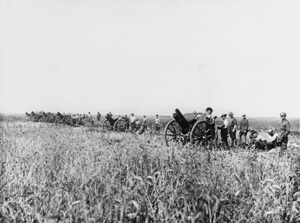 Australian Field Artillery at Villers Bretonneaux at the Second Battle of the Somme on the Western Front in France during World War I in August 1918