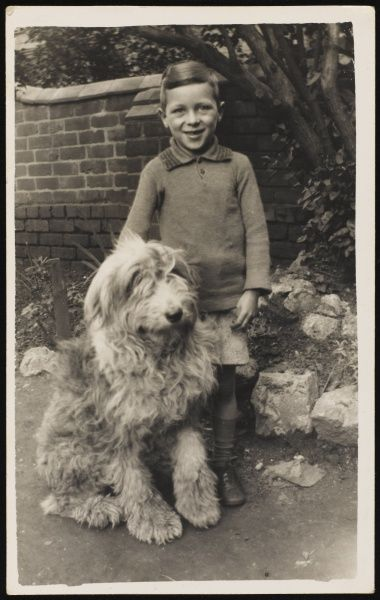 A young boy, poses for his photograph with his pet Old English Sheepdog