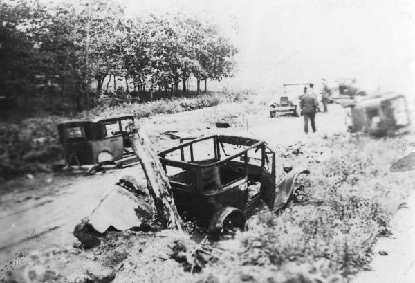 The scene of a serious motor accident involving quite a number of cars, somewhere in America. Date: 1930s