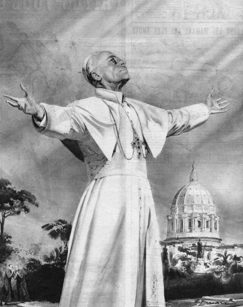 Pope Pius XII experiences a solar vision in the garden of the Vatican, Rome (Italy) ; it is repeated on the two succeeding days Date: 30 October 1950