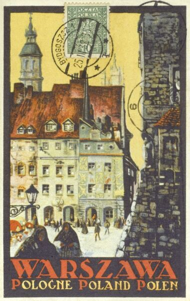 A promotional postcard for Warsaw, Poland Date: circa 1920