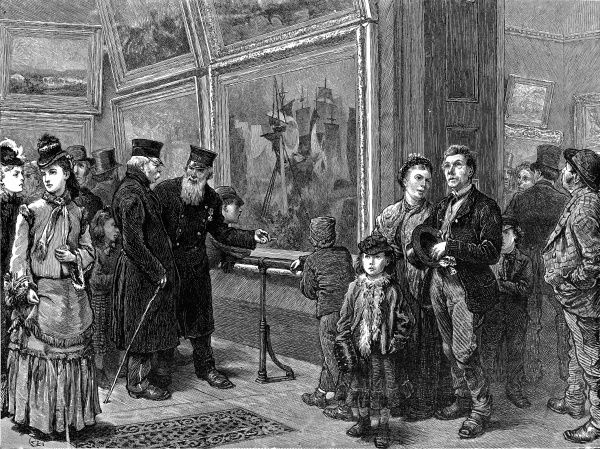 Engraving showing a number of visitors viewing the paintings of the National Gallery, London, during the summer holidays of 1872. On the left two 'Chelsea Pensioners' discuss the merits of a maritime painting
