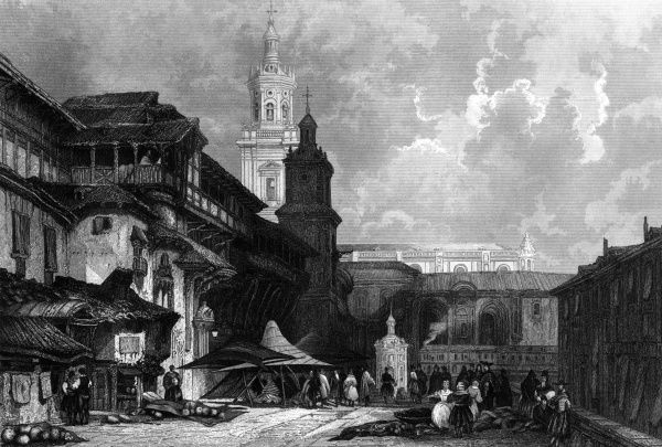 Ancient buildings fronting on the marketplace, with the cathedral in the background. Date: 1850