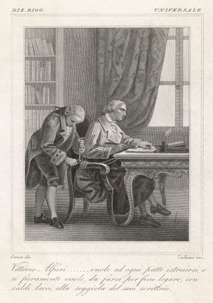 VITTORIO ALFIERI Italian author, instructing his servant to tie him to his writing chair
