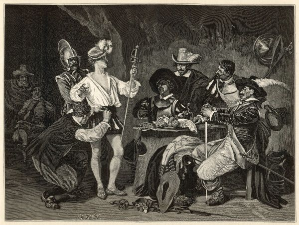 A group of extravagantly dressed gentlemen watch as their comrade is fitted for his equally exuberant costume