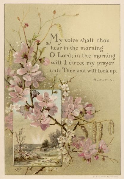 'My voice shalt thou hear...' text with floral ornament and a rustic scene