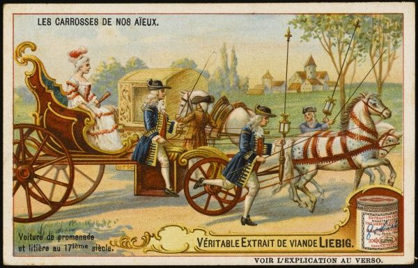 French voiture de promenade with running footmen