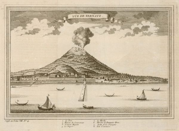 The volcanic island of Ternate, in the Moluccas, Indonesia. The sultanate was occupied first by the Portuguese, subsequently by the Dutch